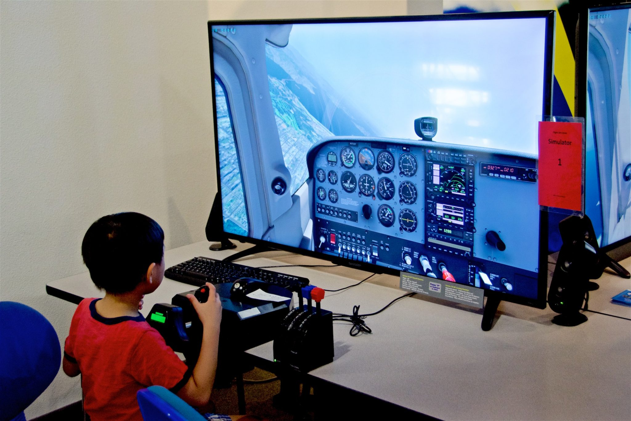 Young Pilot in Flight Sim Zone
