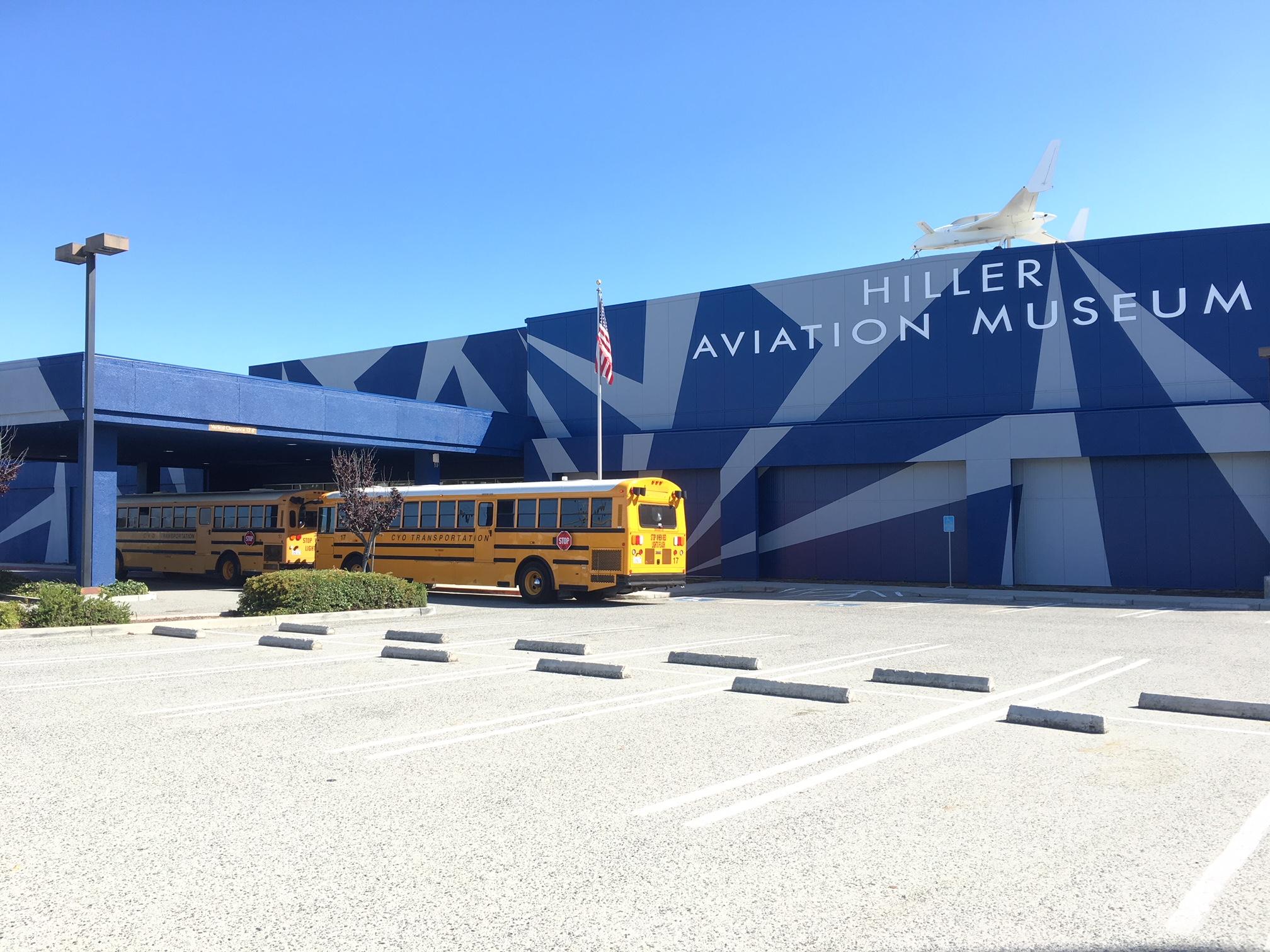School Groups Arriving at Hiller Aviation Museum