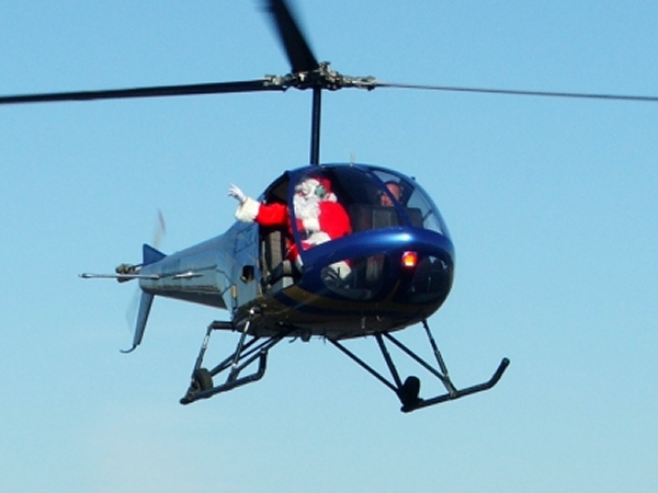 Santa Arrives by Helicopter